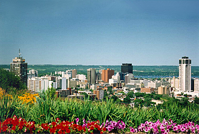 A view of the city from the top of the Hamilton Mountain.