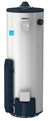 Energy-efficient traditional tank hot water heater.